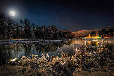Full Moon Photograph - First Snow by Everet Regal