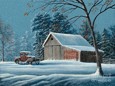 Old Barn Painting - First Snow by Gary Adams