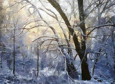Bare Trees Digital Art - First Snow by Gun Legler