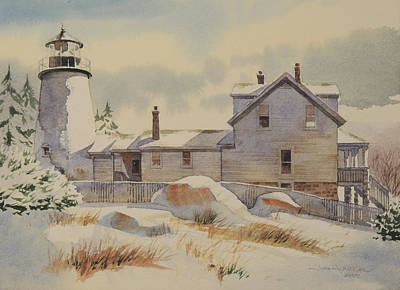 New England Lighthouse Painting - First Snow by Jon Hunter