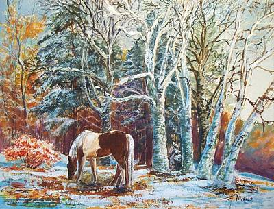 Brilliant Painting - First Snow by Joy Nichols