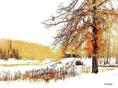 First Snow Last Leaves Art Print by Dorothy Walker