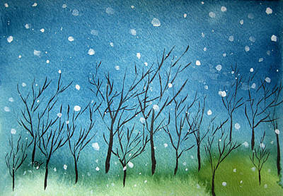 Tranquil Painting - First Snow by Oiyee At Oystudio