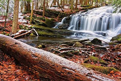 Fallen Leaf On Water Photograph - First Snow Tucker Brook Falls by Jeff Sinon