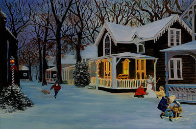 Art Print featuring the painting First Snowfall by Rick Fitzsimons