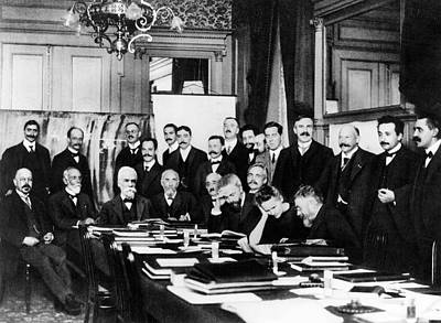 Belgian Photograph - First Solvay Congress by Photographie Benjamin Couprie, Institut International De Physique Solvay, Courtesy Emilio Segre Visual Archives/american Institute Of Physics