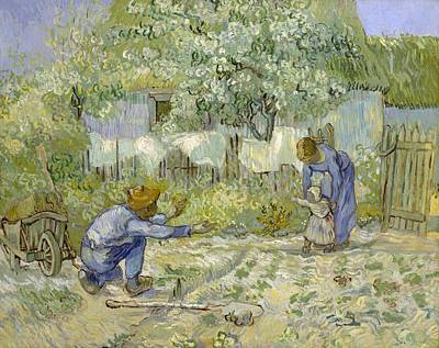 First Steps Painting - First Steps - After Millet by Vincent van Gogh