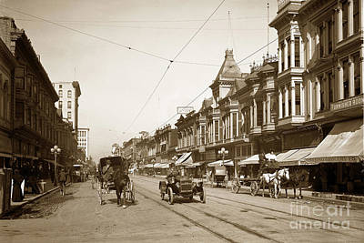 Photograph - First Street Downtown San Jose California Circa 1905 by California Views Mr Pat Hathaway Archives