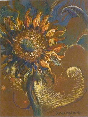 Painting - First Sunflower by Ellen Dreibelbis