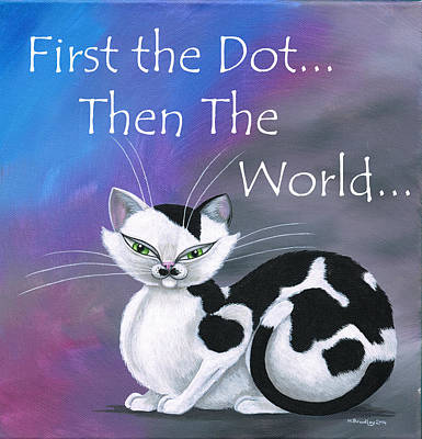 Cat Painting - First The Dot by Heather Bradley