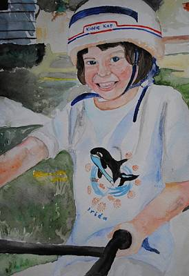 Girl On Bike Painting - First Time On A Bike by Emily Maynard