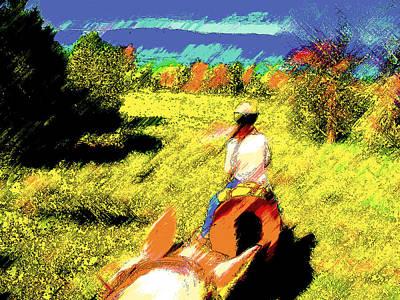 First Trail Ride-digital Sketch 2 Art Print