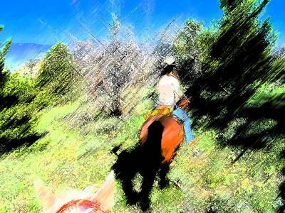 First Trail Ride-digital Sketch Art Print
