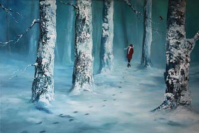 Fallow Deer Painting - First Trodden Snows by Jean Walker