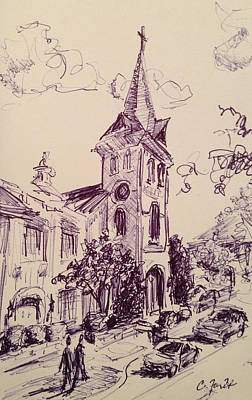 Alabama Drawing - First United Methodist Church Huntsville Alabama by Carole Foret