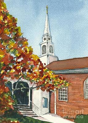 Painting - First United Methodist Church Westborough Ma  by Lynn Babineau