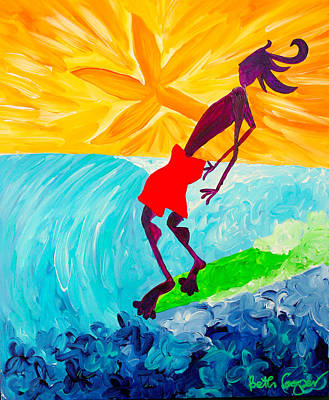 Surfboard Painting - First Wave by Beth Cooper