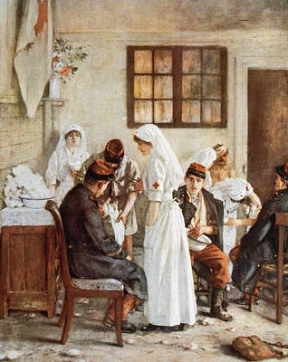 First Wordl War. Nurses With Wounded Soldiers. Poitiers Art Print