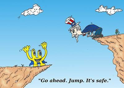 Financial Mixed Media - Fiscal Cliff Financial Cartoon by OptionsClick BlogArt