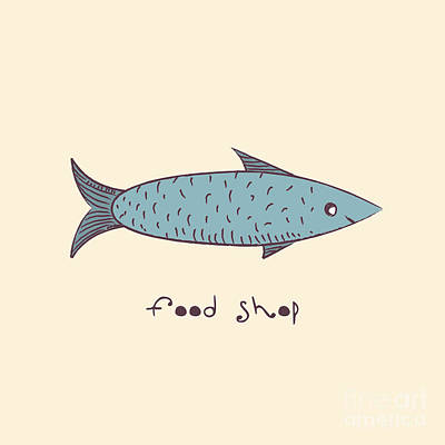 Ocean Digital Art - Fish A Freehand Drawing  Logo Store Food by Natali Li