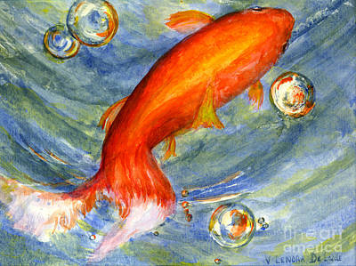 Fish And Bubbles From Watercolor Art Print