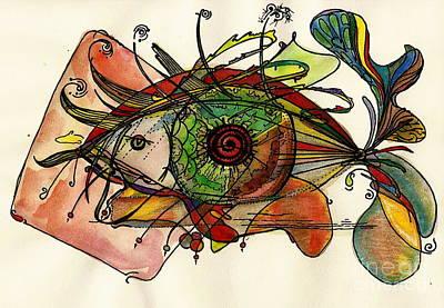 Fish And Eye Abstract Art Print