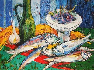 Fish And Food Still Life Art Print