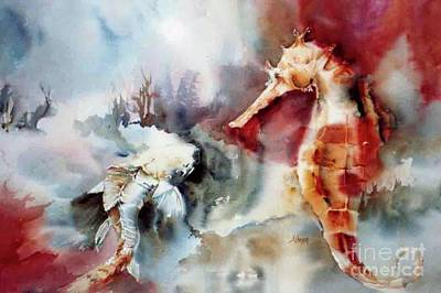 Painting - Fish And Seahorse by Donna Acheson-Juillet
