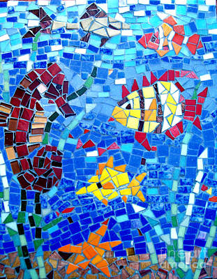Photograph - Fish And Seahorse Mosaic by Lou Ann Bagnall