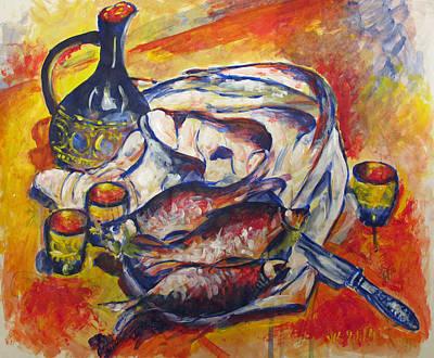 Painting - Fish And Wine by Vladimir Kezerashvili