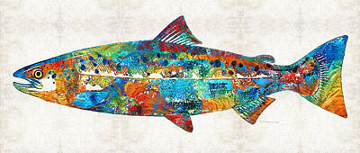 Eating Painting - Fish Art Print - Colorful Salmon - By Sharon Cummings by Sharon Cummings