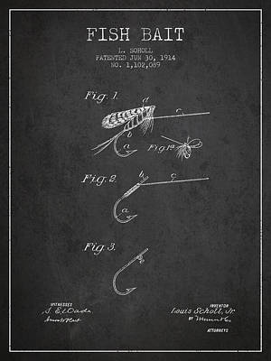 Reel Digital Art - Fish Bait Patent From 1914 - Charcoal by Aged Pixel