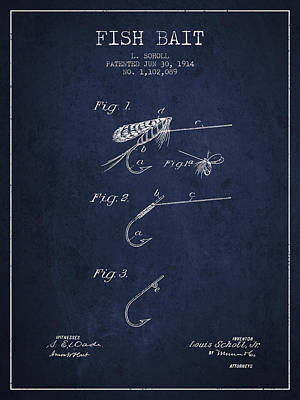 Animals Digital Art - Fish Bait Patent from 1914 - Navy Blue by Aged Pixel