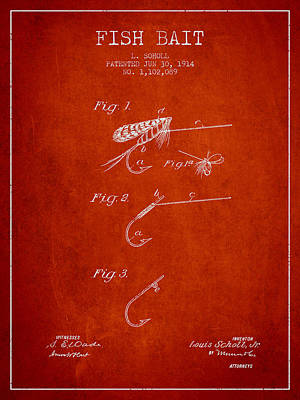 Reel Digital Art - Fish Bait Patent From 1914 - Red by Aged Pixel