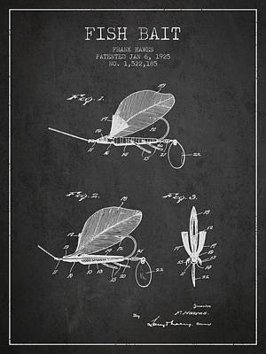 Reel Digital Art - Fish Bait Patent From 1925 - Charcoal by Aged Pixel