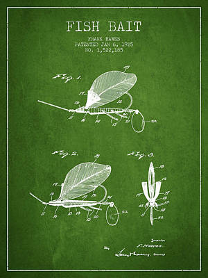 Reel Digital Art - Fish Bait Patent From 1925 - Green by Aged Pixel