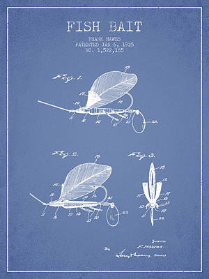 Reel Digital Art - Fish Bait Patent From 1925 - Light Blue by Aged Pixel
