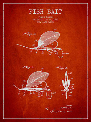 Reel Digital Art - Fish Bait Patent From 1925 - Red by Aged Pixel