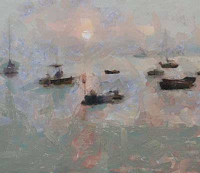 Digital Art - Fish Boats At Lamma Island Sunset by Yury Malkov