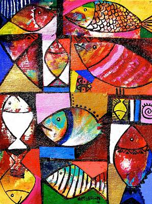 Painting - Fish Bunch by Appiah Ntiaw