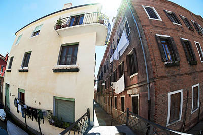 Typographic World - Fish Eye Laundry II Color Venice Italy by Sally Rockefeller