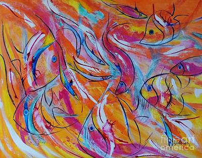 Art Print featuring the painting Fish Frenzy by Lyn Olsen