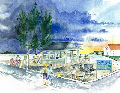 Fries Painting - Fish Fry At Governors Harbor by Maria McBride