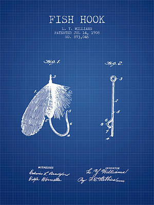Animals Digital Art - Fish Hook Patent from 1908- Blueprint by Aged Pixel