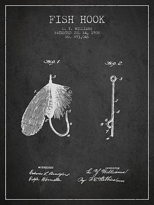 Animals Digital Art - Fish Hook Patent from 1908- Charcoal by Aged Pixel