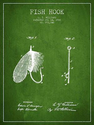 Animals Digital Art - Fish Hook Patent from 1908- Green by Aged Pixel