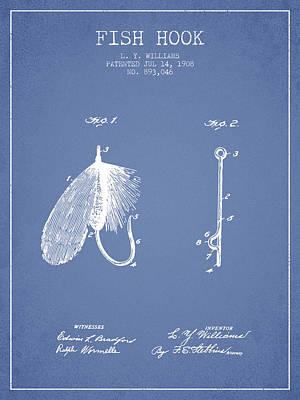 Reel Digital Art - Fish Hook Patent From 1908- Light Blue by Aged Pixel