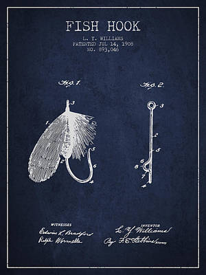 Reel Digital Art - Fish Hook Patent From 1908- Navy Blue by Aged Pixel