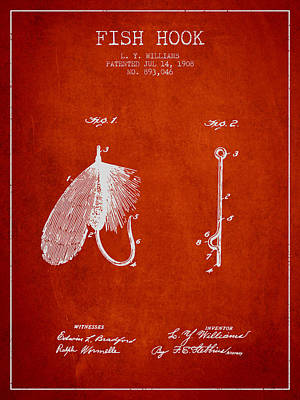 Animals Digital Art - Fish Hook Patent from 1908- Red by Aged Pixel
