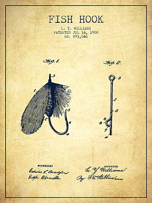 Animals Digital Art - Fish Hook Patent from 1908- Vintage by Aged Pixel